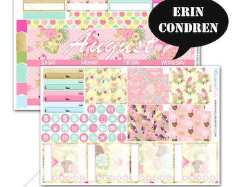 Tropical Summer Flamingo MONTHLY Planner Kit  / for Erin Condren Stickers / Life Planner Sticker / Monthly Sticker Kit #SQ00203-EC