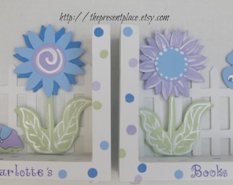 Personalized bookends,lavender,aqua,flower bookends,butterfly and caterpillar bookends,girls bookends, kids bookends,personalized gift