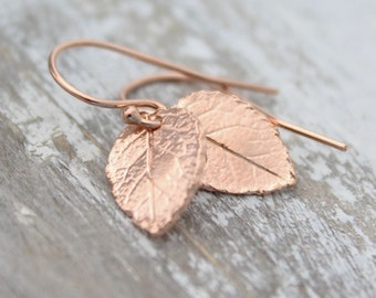 Rose Gold Tiny Leaf  Earrings, Dangling Leaf Earrings, Small Rose Gold Dainty Earrings, Rose Gold Jewelry, Simple Earrings, Nature Earrings