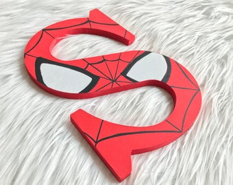 Custom Wall Letter   Hand Painted Letters   Wood Letters   Kids Decor   Spiderman  