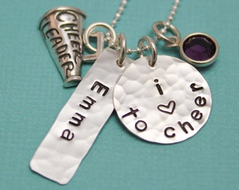 Personalized Cheerleading Necklace, Gifts for Cheerleaders, Cheer Mom Jewelry, Hand Stamped Jewelry