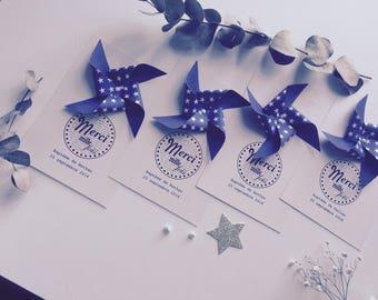 Thank you wedding christening windmill card