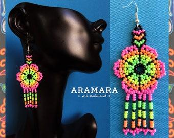 Native american earrings, Mexican earrings, Mexican folk art, Huichol Earrings, Beaded Flower, Mexican Jewelry, Flower Earrings, AF-0233