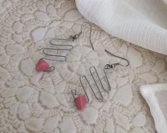 Silver Wire Zig Zag Coral Earrings