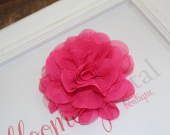 Hot Pink Lace Chiffon Flower Clip