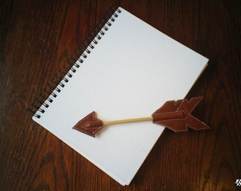 Dark Brown Leather Arrow Pencil Topper