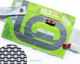 SALE Racetrack Travel Car Mat | Car Play Mat - Navy Tomahawk Backing | Folding Car Mat | Kids Travel Activity