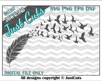 bird feather SVG, svg, dxf, png, svg files, bird svg, feather svg, flying birds, flying svg, cricut files, ornament svg, love svg