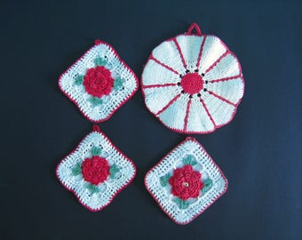 Lot of 4 vintage hand crocheted pot holders. Red and White. Rose motifs. 1950s vintage kitchen decor kitsch hot pads trivets.