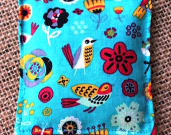 Festive Birds and Flowers on Turquoise Lavender Sachet