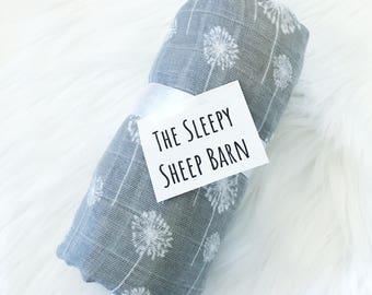 Dandelion Swaddle - Dandelion Baby Blanket - Muslin Swaddle - Muslin Baby Blanket
