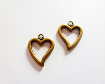 6 charms heart 19 * 15mm bronze