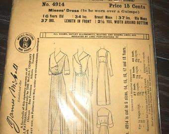 1908 Misses' Dress pattern original James McCall sewing pattern