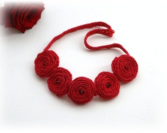 Crochet Linen  Necklace - Choker -  Fuschia Pink Roses Necklace