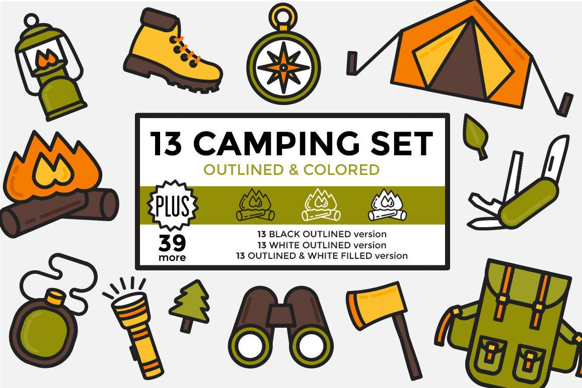 Camping Clipart Hiking Outdoors Elements