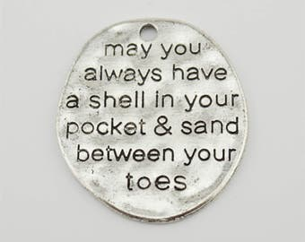 """5pcs 50x17mm Letter """"May You Always Have A Shell In your Pocket & Sand Between Your Toes"""" Charm Pendant Findings JH"""