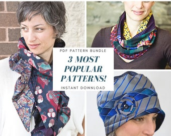 PDF Sewing Pattern Bundle for Recycled Repurposed Necktie Cowl, Infinity and Ruffle Scarves and Cloche Hat for Women Instant Download