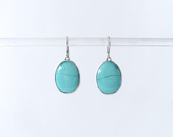 Turquoise earrings silver jewelry turquoise stone oval natural matrix oval drop earrings summer jewelry for her boho jewelry