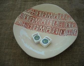 Mahjong bol - idée de cadeau de poterie - céramique Oriental Oriental bol - poterie artisanale - - Mahjong - Mahjong plat