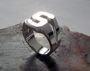 """Big Bold Type """"S"""" ring, Size 10.25, .925 Silver, 15.5 grams. Heavy Weight!"""