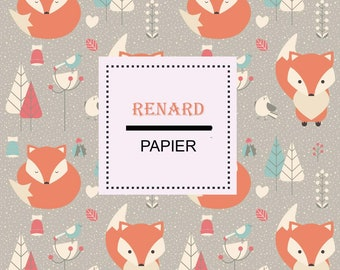 Digital Download printable paper, animals, Fox drawing tree, wall poster, origami, kids room