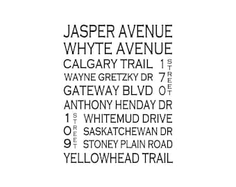 Edmonton Alberta - Love This Place Street Name Art Print on Paper - Customize With Your Street - Home Decor - Canada TheJitterbugShop