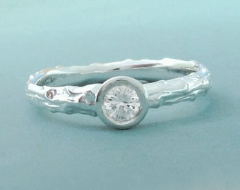 Twig Engagement Ring, White Sapphire and Sterling Silver, Pine Branch, Choose a Stone Size