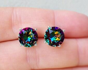 Rainbow Stud Earrings, Rainbow Swarovski Crystal Stud Earrings, Rainbow Earrings, Sterling Silver Vitrail Medium Swarovski Stud Earrings