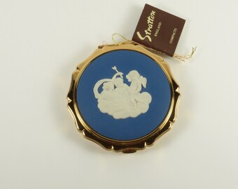 ON SALE! Vintage Wedgwood Blue Stratton of England Cupid on a Cloud Powder Compact with Box Cherubs