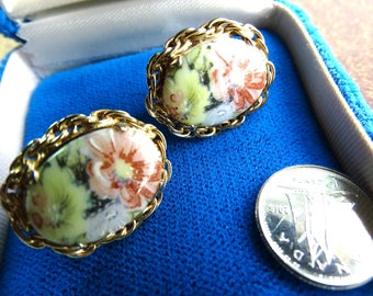 Transfer ware Floral Cabbage Rose Clip back Vintage earrings