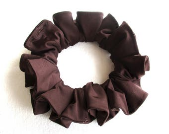 brown jersey scrunchie, long hair accessory for women girl, handmade gift for her, dance ponytail holder, 80s 90s disco party