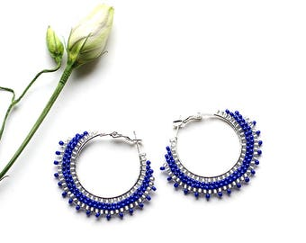 Girlfriend Gift Blue Boho Earrings Gift for Wife Birthday Gift Silver Plated Hoop Earrings Trendy Jewelry Gypsy Jewelry Summer Fashion Gift