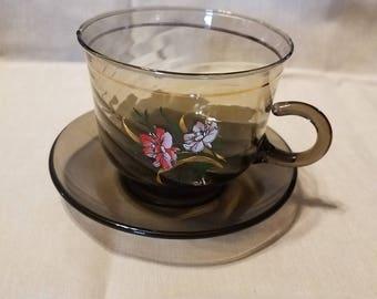 Glass Teacup and Saucer