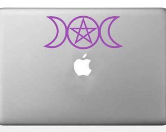Car Decal, Triple Moon Goddess, vinyl decal, Macbook decal, handmade sticker, Pagan sticker, Wiccan Decal