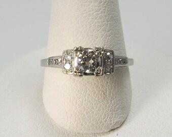 Vintage palladium old cut diamond engagement ring