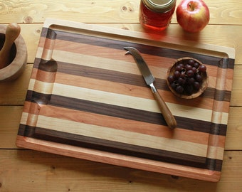 Striped Hardwood Cutting Board with Well and Groove, Two Sizes, Hardwood Carving Board, Juice Catching Groove