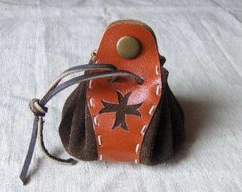 Purse - original leather wallet brown-red handmade