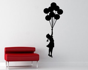 Banksy Balloon Girl Removable Vinyl Wall Decal - Flying Girl With Balloons