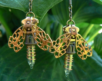 Steampunk Firefly Zipper Earrings
