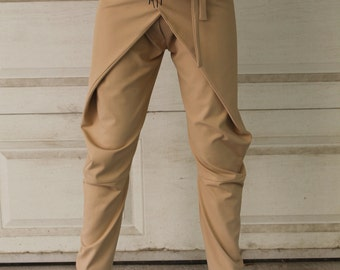 Tapered Trousers   Wrapover Trousers   Beige Trousers   Long Trousers   Tapered Pants   Long Casual Pants by Silvia Monetti
