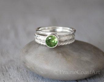 Birthstone Ring Stack Set - Choose a Birthstone Sterling Silver - Garnet, Sapphire, Ruby, Peridot, Aquamarine, Sapphire, Amethyst,Topaz