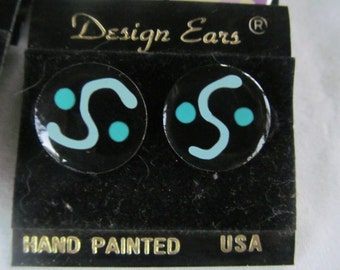 Teal and Black Jewelry Designer Painted Enamel Earrings Teal and Black Earrings 80s Jewelry NOS  MOD Psychedelic Jewelry Enamel Jewelry