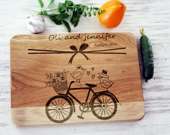 Bridal shower gift for bride Personalized cutting board Wedding gift for couple Just married Bicycle Chopping cheese board Bike Love birds