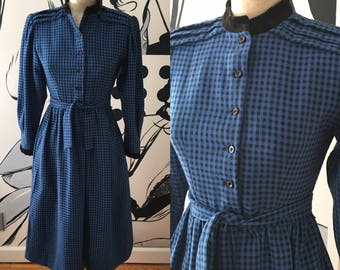 Lanz Blue and Black Gingham Dress