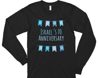 Israel's 70th Seventy  Anniversary tee shirt Celebration day T shirts Long sleeve t-shirt
