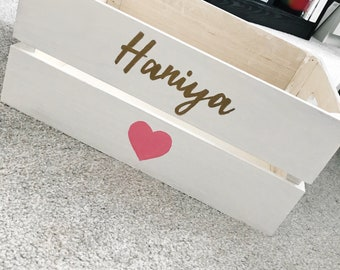 Personalised white wooden crate