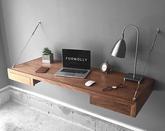 Wall Mounted Floating Desk With Storage - Walnut