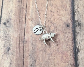 Pig initial necklace - pig jewelry, farm animal necklace, pig necklace, farm jewelry, hog necklace, state fair necklace, silver pig pendant