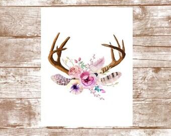 Printable Nursery Art - Floral Wreath Antlers - Watercolor Deer - Floral Wreath - Boho Nursery - Digital Download - Nursery Wall Decor