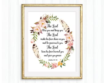The Lord bless you and keep you, Numbers 6:24-26, Printable Wall Art, Bible verse, Christian quote, Scripture, Watercolor floral wreath
